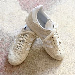 Adidas Crackled White Gazelle Tennis Shoes